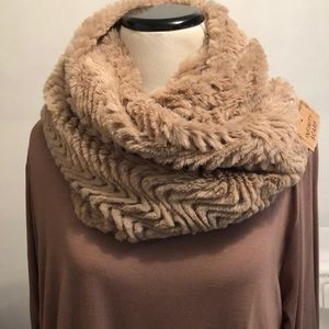 Accessories - Plush Faux Fur Infinity Scarf Cowl and Hood Camel